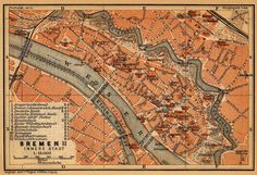 Map of Bremen, Germany in 1910.