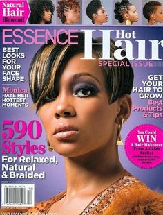 With all the afro hair and beauty magazine titles out there you would think there is zero room for another. However, Essence sees this statement a little different. Monica Hairstyles, Shag Hairstyles, Crown Hairstyles, Trendy Hairstyles, Black Hairstyles, Pixie Haircuts, Natural Hair Blowout, Natural Braids, Natural Hair Styles
