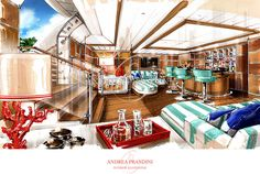 interior illustration and visualization, watercolor illustration, handmade rendering - yacht - Andrea Prandini