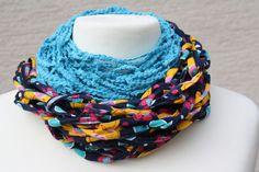 Schals - Loop Schlauchschal türkis bunt gemustert Schal - ein Designerstück von trixies-zauberhafte-Welten bei DaWanda