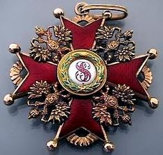 Imperial Russian Order of St Stanislav, 3rd class, gold and red guilloche enamel, made in St Petersburg between 1908 and 1917 by Eduard