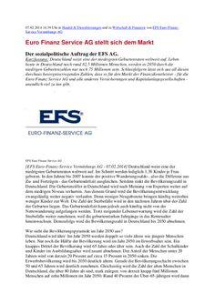 Euro finanz service ag stellt sich dem markt