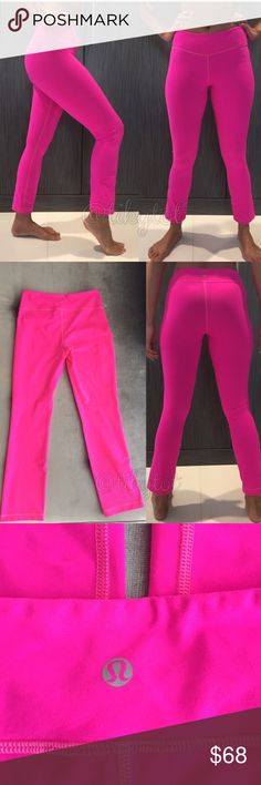 """Lululemon PYB pants Neon hot pink color, authentic Lululemon Athletica PYB pants, ankle length, has hidden key pocket, great for yoga, run, gym. In almost brand new condition. I'm 5'7"""" for photo references. lululemon athletica Pants"""