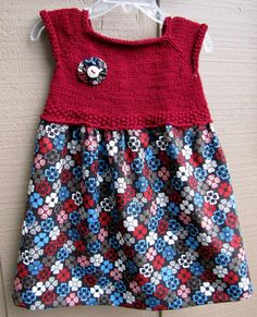 Hand knit Red Expresso & Teal Toddler Dress or Jumper by katidids, $30.00