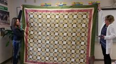 2015 donation Quilt 9-patch Thanks, Jenny and Neila for holding it so I could get a picture.  :)