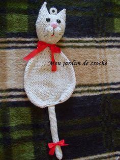 Meu jardim de crochê: Puxa saco gato em crochê