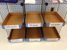 Put a paper box lid in each class shelf to hold current project. Keeps the projects in order and easier to hand out.