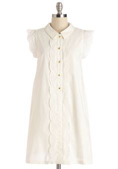 Dear Creatures Letter Than Ever Dress in White. Strolling to the post office with a care package for your BFF abroad in hand, youre looking and feeling delightful in this ruffled, white shirt dress by Dear Creatures! #white #modcloth