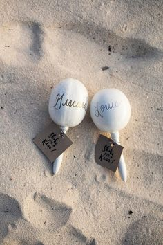 fun beach favours/escort cards