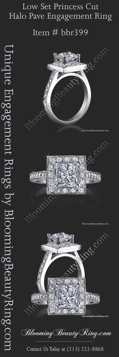 Princess Cut Diamond Halo Style engagement ring handmade by BloomingBeautyRing.com  (213) 222-8868  #HaloRing #PrincessCut  #Diamond  http://www.bloomingbeautyring.com/unique-engagement-rings/low-set-princess-cut-diamond-halo-ring-with-round-pave-diamonds-bbr399/