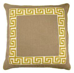 greek key pillow with ribbon trim
