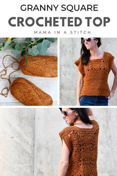 Granny Square Top Free Crochet Pattern This pretty crocheted top pattern is great for any time of year as it can be worn under a jacket or Crochet Tank Tops, Crochet Summer Tops, Crochet Shirt, Knit Crochet, Crochet Vests, Crochet Sweaters, Crochet Granny, Top Pattern, Free Pattern