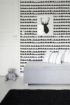 Kids room - Half Moon wallpaper Ferm Living Wallpaper, Girls Bedroom, Bedroom Decor, Piano Room, Scandinavian Home, White Decor, New Room, Living Room Interior, Decoration