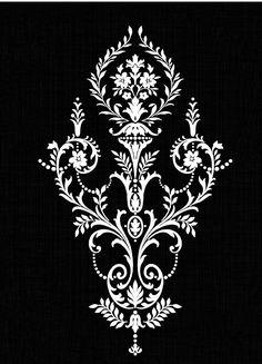 Textile Pattern Design, Textile Patterns, Pattern Art, Stencil Patterns, Stencil Designs, Stencil Painting, Damask Stencil, Border Embroidery Designs, Machine Embroidery Designs