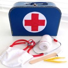 Easy to assemble Doctor Play Set with items you may already have around the house. Includes instructions to make a mini surgical mask.