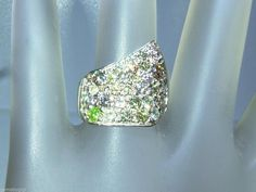 Custom Multi Colored Diamond Pave Asymmetrical Band Ring White Gold 14kt by Gemsbygigialonia on Etsy *SOLD