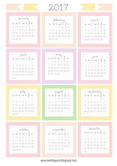 Free printable 2017 mini calendar cards - bullet journal stickers - freebie | MeinLilaPark