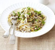 Lentil and lemon fettuccine This simple peasant-style dish is hugely staisfying and packed with protein Bbc Good Food Recipes, Veggie Recipes, Pasta Recipes, Vegetarian Recipes, Best Lemon Dessert Recipe, Bbc Good Food Show, Lemon Health Benefits, Italian Sausage Pasta, How To Cook Pasta