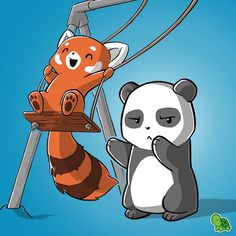 Everyone has that one friend... Tag them!  #bffs #friends #tagafriend #teeturtle #redpanda #panda #friendship #kawaii #friendsforever