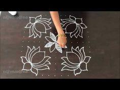 Deepavali special Deepam Rangoli    Kolam with dots    13-7 interlaced dots    - YouTube Rangoli Side Designs, Rangoli Designs Latest, Simple Rangoli Designs Images, Free Hand Rangoli Design, Small Rangoli Design, Rangoli Patterns, Rangoli Designs Diwali, Rangoli Designs With Dots, Rangoli With Dots