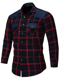 Abetteric Men Plus Size Plaid Britain Leisure Mid-Long Tshirt Shirt