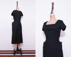 1950s black dress / Vintage 50s dress / Back bow by Ainshent, $65.00