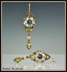 Beaded Beadwork Beadwoven Crystal Flower by beadedartjewelry