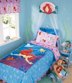 Are you looking for bedroom decorating ideas for girls? Is your little girl crazy over the little mermaid named Ariel?this will be my daughters room Girls Bedroom Sets, Baby Bedroom, Little Girl Rooms, Dream Bedroom, Kids Bedroom, Bedroom Decor, Bedroom Ideas, Master Bedroom, Little Mermaid Bedroom