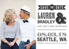 This bold save the date card sets the tone for a fun-filled wedding. Snail mail has never been quite so exciting.