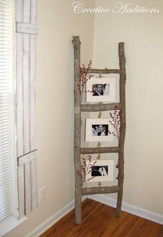 Tree Branch Photo Ladder | 13 Rustic Home Decor Ideas You Can Recreate This Winter