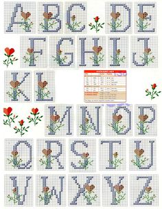 Ângela Bordados: Letrinhas para uma sopinha de idéias para nossos bordados rsrsrss Cross Stitch Numbers, Cross Stitch Letters, Mini Cross Stitch, Cross Stitch Heart, Cross Stitch Flowers, Cross Stitch Kits, Cross Stitch Designs, Crochet Alphabet, Cross Stitch Alphabet Patterns