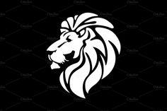 Black and White Lion Head   Lion Head Logo