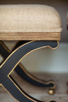 Linen stool with gold painted trim