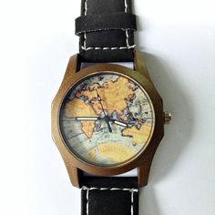 Map Watch Vintage Style Leather Watch Women Men by FreeForme, $15.00