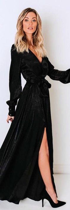 Swept Away Maxi Dress - Black Grey Fur Coat, Cozy Winter Outfits, Long Sleeve Tops, Dress Up, Glamour, Gowns, Dress Black, Sleeved Dress, My Style