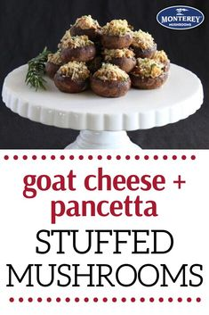 Is there any better holiday appetizer than stuffed mushrooms? This stuffed mushroom recipe is packed with goat cheese and pancetta. It's crazy delicious and makes the perfect party appetizer! Best Holiday Appetizers, Yummy Appetizers, Yummy Snacks, Holiday Recipes, Winter Recipes, Baby Bella Mushroom Recipes, Best Mushroom Recipe, Pork Recipes, Snack Recipes