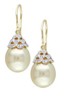 14K Yellow Gold 10.5-11mm Golden South Sea Pearl & Diamond Drop Earrings