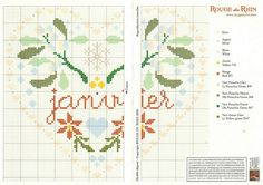 cross stitch hearts of the month birthday 01 of 12 January