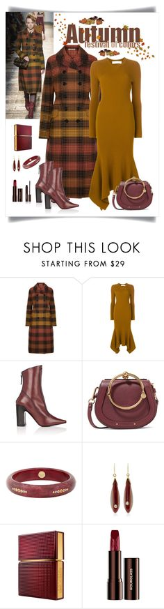 """Bottega Veneta Checked Wool Coat Look"" by romaboots-1 ❤ liked on Polyvore featuring Bottega Veneta, Victoria Beckham, Fabrizio Viti, Chloé, Mark Davis, Elizabeth and James and Hourglass Cosmetics"