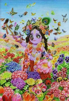 Krishna, the Creator of both the flowers and the butterflies, .seems to attract both! Krishna Leela, Jai Shree Krishna, Radha Krishna Love, Krishna Radha, Iskcon Krishna, Hanuman, Little Krishna, Cute Krishna, Lord Krishna Wallpapers