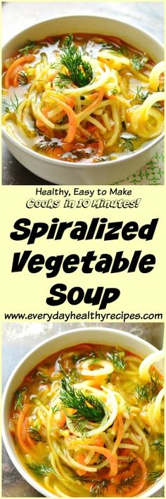 Spiralized Vegetable Soup #everydayhealthyrecipes #spiralizedrecipe #spiralizer #zoodles #veggienoodles #vegetarianrecipes #souprecipes #soup #veganrecipes #dairyfree #healthyrecipes #lunch #easyrecipe