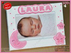 Marco para fotos recién nacido, personalizado con nombre. Hecho a mano. www.le-chat-noir.es #bebe #baby #babyshower #nacimiento #bautizo #handmade #original https://www.facebook.com/pages/Le-Chat-Noir-Hecho-a-mano/113710975370328