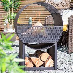 Camacha Steel Mesh Firepit with Log Store Rim Fire Pit, Wood Fire Pit, Steel Fire Pit, Wood Burning Fire Pit, Fire Pit Table, Fire Pits, Fire Pit Wayfair, Wood Charcoal, Log Store