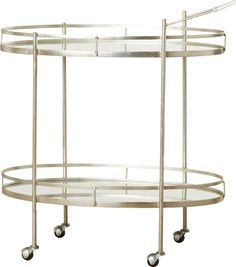 Recalling the elegance of hotel and restaurant dessert and cocktail trolleys, the bar cart makes home entertaining special. This trolley on casters features chic mirrored glass shelves and a frame of sturdy iron in a lustrous silver finish.