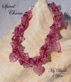 Beadwoven Bracelet Spiral Beaded Pink  Bracelet by mybeads4you, $30.00