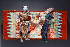 "Batik: Tales of Healing  by Martha Banyas  Enamel on copper, wood backing. 16""w x 7""h x 2""d. 2010"