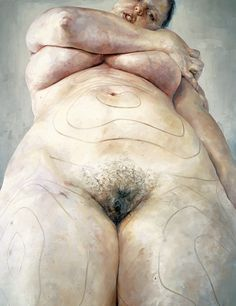 Jenny Saville you see the scribbles going across the body...i must remember to do these