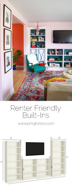 Renter Friendly Built-ins with a feature with Rugs USA's Chroma Medallion CB10 rug!