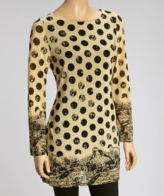 Another great find on #zulily! Cream & Black Dot Tunic #zulilyfinds