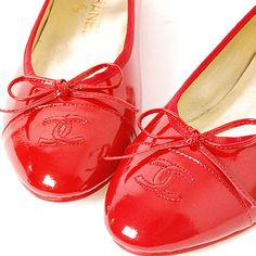 Chanel Flat Ballet Shoes Patent Red
